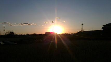 上里町役場と日の出